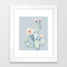 Prettiest Rose Cactus Blue Framed Art Print