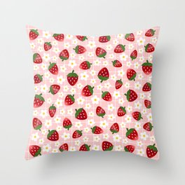 Sweet Strawberries - soft pink Throw Pillow