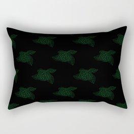 Black Dark Green Vintage Floral Illustration Of Hydrangea Flowers Rectangular Pillow