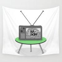 tv Wall Tapestries featuring Kapow TV by mailboxdisco