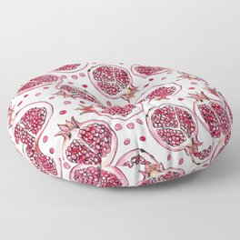 Pomegranate watercolor and ink pattern Floor Pillow