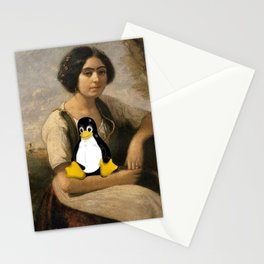 Corot Master piece with Linux Tux Penguin  Stationery Cards