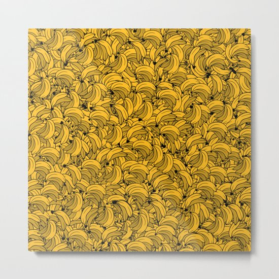 Plenty of Bananas - Yellow Metal Print