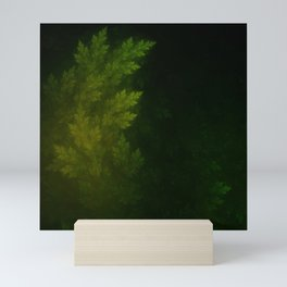 Beautiful Fractal Pines in the Misty Spring Night Mini Art Print