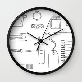 Stionery and desk items Wall Clock