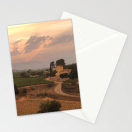 Barcelona, Spain - Pink Sunset at a Vineyard Stationery Cards