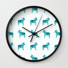 Dala Horse Pattern - Aqua on White Wall Clock
