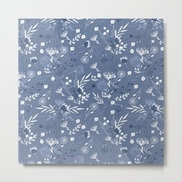Artistic modern pastel blue white hand painted floral Metal Print