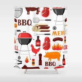 Grilling Season 4th Of July Texas BBQ Print Shower Curtain