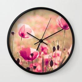 Heaven - poppy flowers photography Wall Clock