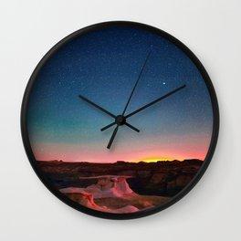 Bisti Badlands Hoodoos Under New Mexico Stary Night Wall Clock