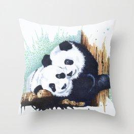 The Panda Couple Throw Pillow
