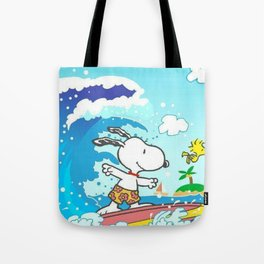 snoopy surfing Tote Bag
