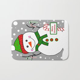 Merry Christmas Snowman Bath Mat