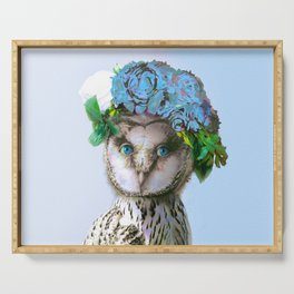 Cool Animal Art - Owl with a Flower Crown Serving Tray