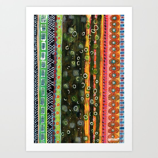 Absorbed Rings with Vertical Stripes Pattern Art Print