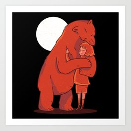 Cute Bear hugging a girl Art Print