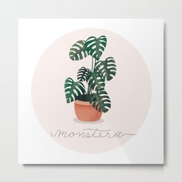 Potted Monstera Metal Print