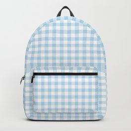 Gingham Light Blue - White Backpack