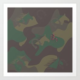 Camouflage Year of Horse Art Print