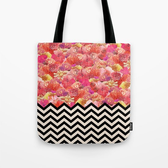 Chevron Flora Tote Bag