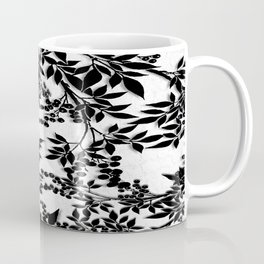 Toile Black and White Tangled Branches and Leaves Coffee Mug
