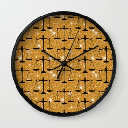 Symbol Balanced Scales Golden Glitter Legal  Wall Clock