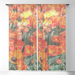 Tulips On Fire Sheer Curtain