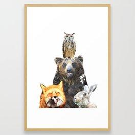 Woodland Animal Friends Framed Art Print