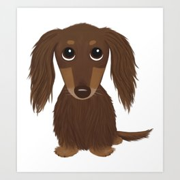 Longhaired Chocolate Dachshund Cartoon Dog Art Print