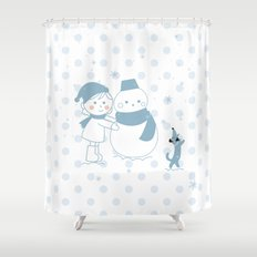 Happy snowman and a dog Shower Curtain