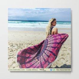 Multicolor Round Tapestry Mandala Roundie Beach Throw Metal Print