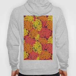 Modern tropical summer yellow orange red cheese leaves floral Hoody