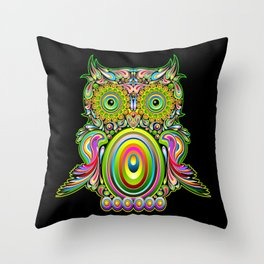 Owl Psychedelic Art Design Throw Pillow