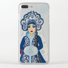 Father Frost and Snow Maiden in petrykivka style Clear iPhone Case