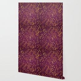 Fuchsia Golden Stripes Wallpaper