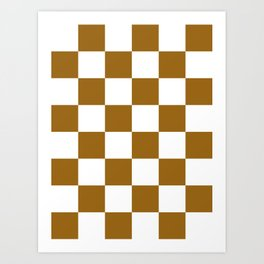 Large Checkered - White and Golden Brown Art Print