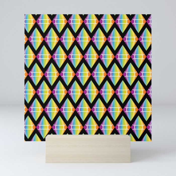 Abstract [RAINBOW] Emeralds pattern Mini Art Print