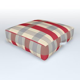 Red Striped Plaid Outdoor Floor Cushion