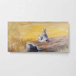 Fox and Hare in Woods by Sonya Allen Metal Print