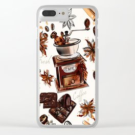 Coffee watercolor pattern with grains coffee mill and chocolate Clear iPhone Case