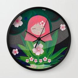 Green Lotus Girl Modern Floral Print Wall Clock