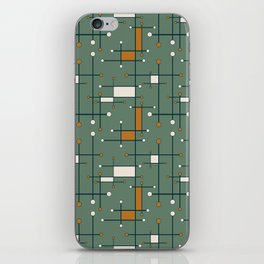 Intersecting Lines in Olive Green and Orange iPhone Skin