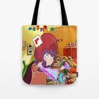 "magneto Tote Bags featuring "" Mini Magneto "" by Funki monkey animation studio"