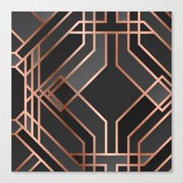 Art Deco Gold Grey Black Pattern Canvas Print