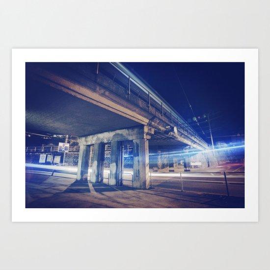 De nuit, sous un pont Art Print