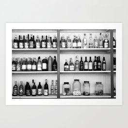 Liquor bottles Art Print