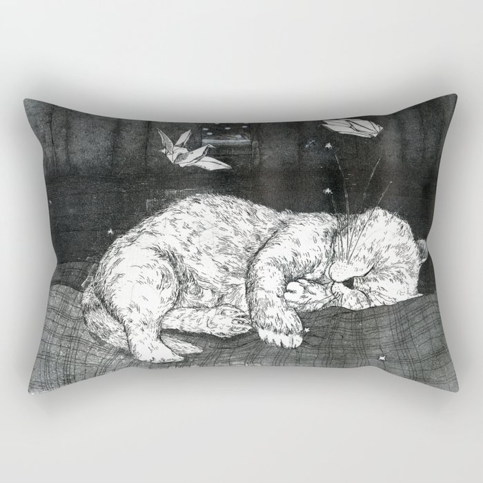 Cat Dreams: Black and White Atmospheric Illustration of a Cat Sleeping Soundly Rectangular Pillow