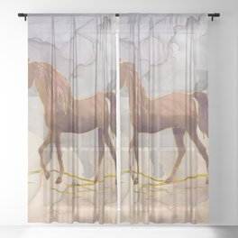 Wild Horse Walking in the Hot Desert Sheer Curtain