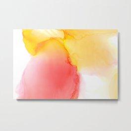 Pink & Yellow Liquid Watercolor Metal Print
